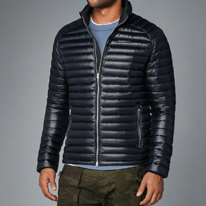 美國百分百【Abercrombie & Fitch】羽絨 外套 AF 麋鹿 保暖 防寒 深藍 XS S M號 H244