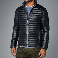 保暖服飾推薦美國百分百【Abercrombie & Fitch】羽絨 外套 AF 麋鹿 保暖 防寒 深藍 XS S M號 H244