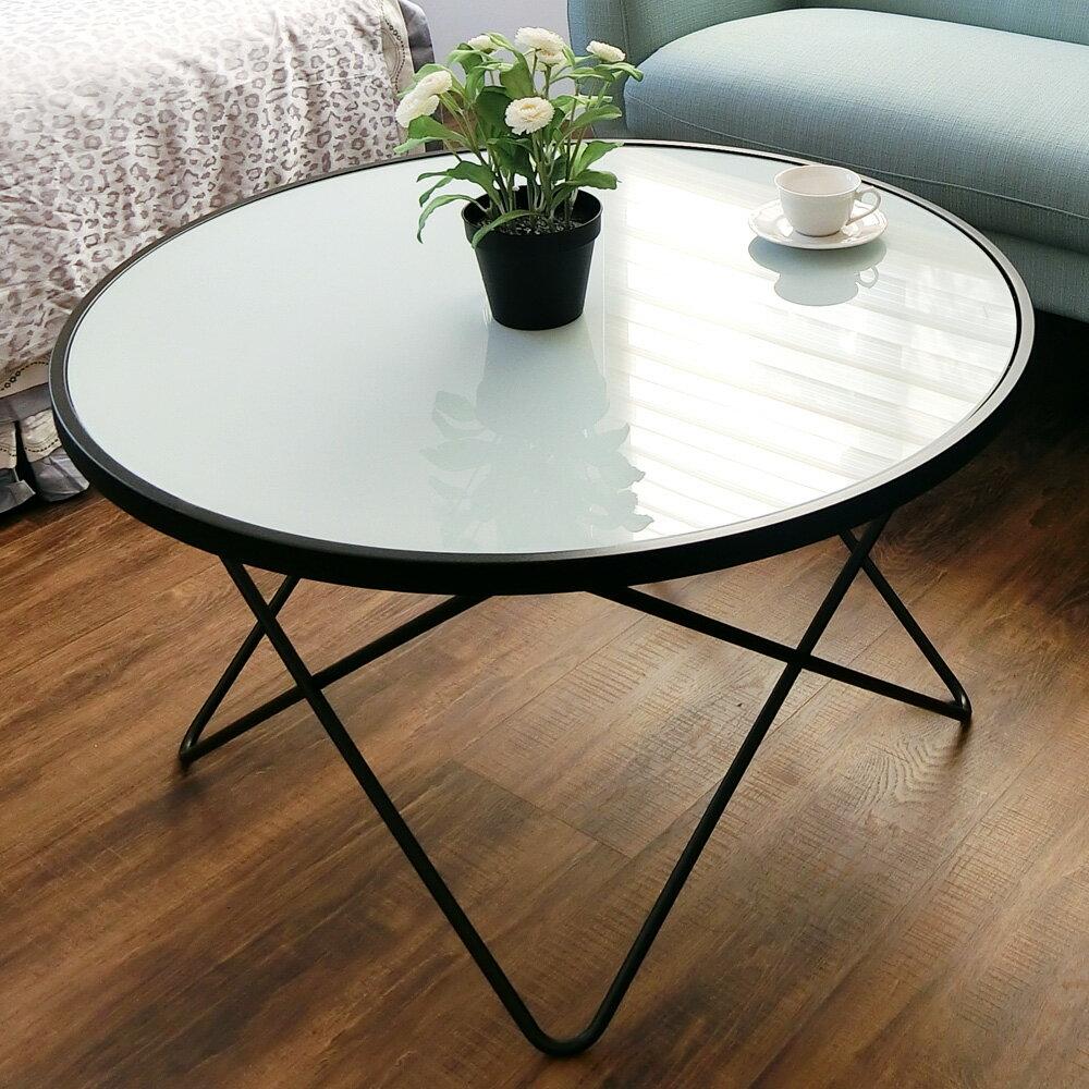書桌 洽談桌 茶几桌【DAI003】簡潔玻璃圓形黑架咖啡桌