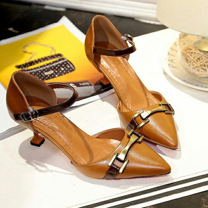 糖衣子輕鬆購【DZ0319】韓版甜美百搭一字扣淺口尖頭細跟高跟鞋中跟鞋