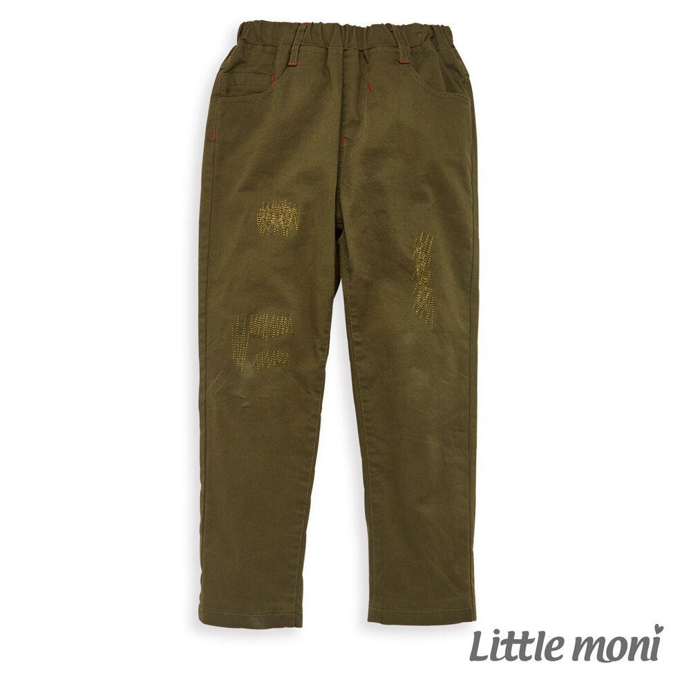 Little moni 水洗雙層長褲-軍綠(好窩生活節) 0