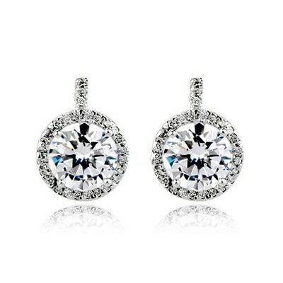 925純銀耳環鑲鑽耳飾~ 氣質 母親節生日情人節 女飾品2色73gt175~ ~~米蘭 ~