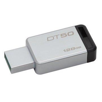 【新風尚潮流】 金士頓 隨身碟 DT50 USB 3.1 128G 黑標 無蓋式設計 金屬外殼 DT50/128GB