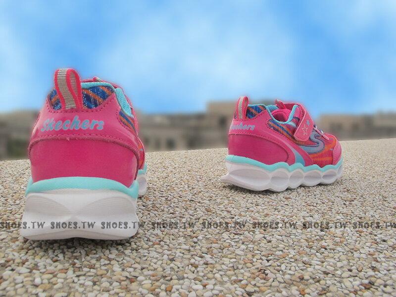 [最後一雙:14cm]《下殺5折》Shoestw【10613NHPMT】SKECHERS 小童鞋 電燈鞋 LED 桃紅 黏帶 運動鞋 2
