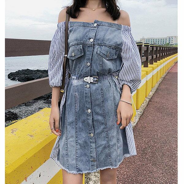 短袖洋裝條紋拼接一字領不規則排釦抽繩短袖連身裙【NDF5038】BOBI0628
