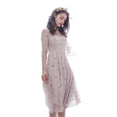 【米蘭秀】【奇珍館】:連身裙短袖洋裝-夏季薔薇印花雪紡女連衣裙73pu19【獨家進口】【米蘭精品】