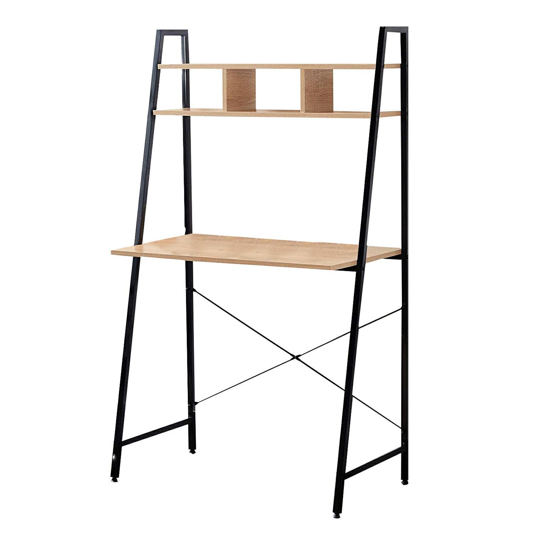 Clickhere2shop Offex Home Office Black Ladder Steel Frame Desk With Wooden Bookcase Above Rakuten Com