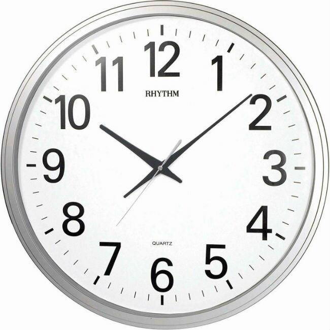 RHYTHM 麗聲鐘(CMG430) 簡單銀圓形時尚掛鐘/50cm