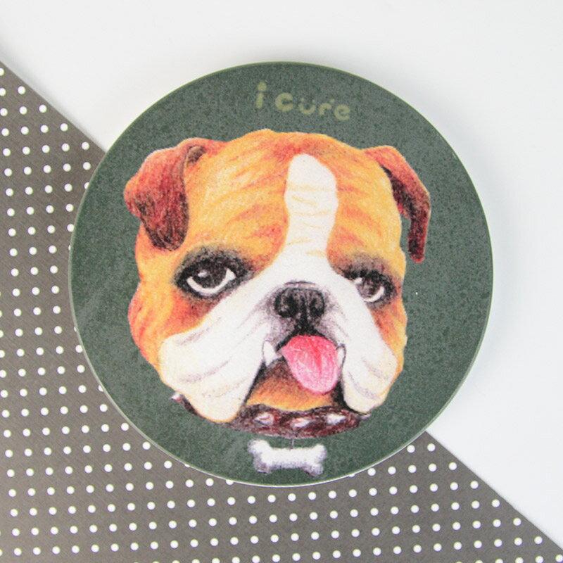 icure吸水杯墊-i magic-手繪風 英鬥 狗 犬