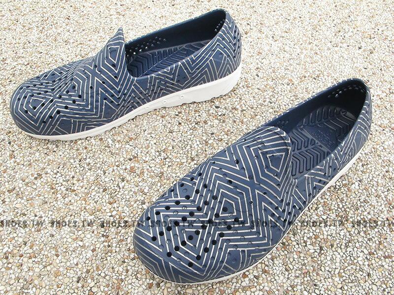 《限時特價79折》Shoestw【62U1SA61DB】PONY TROPIC 水鞋 軟Q 防水 懶人鞋洞洞鞋 深藍銀線 親子 1