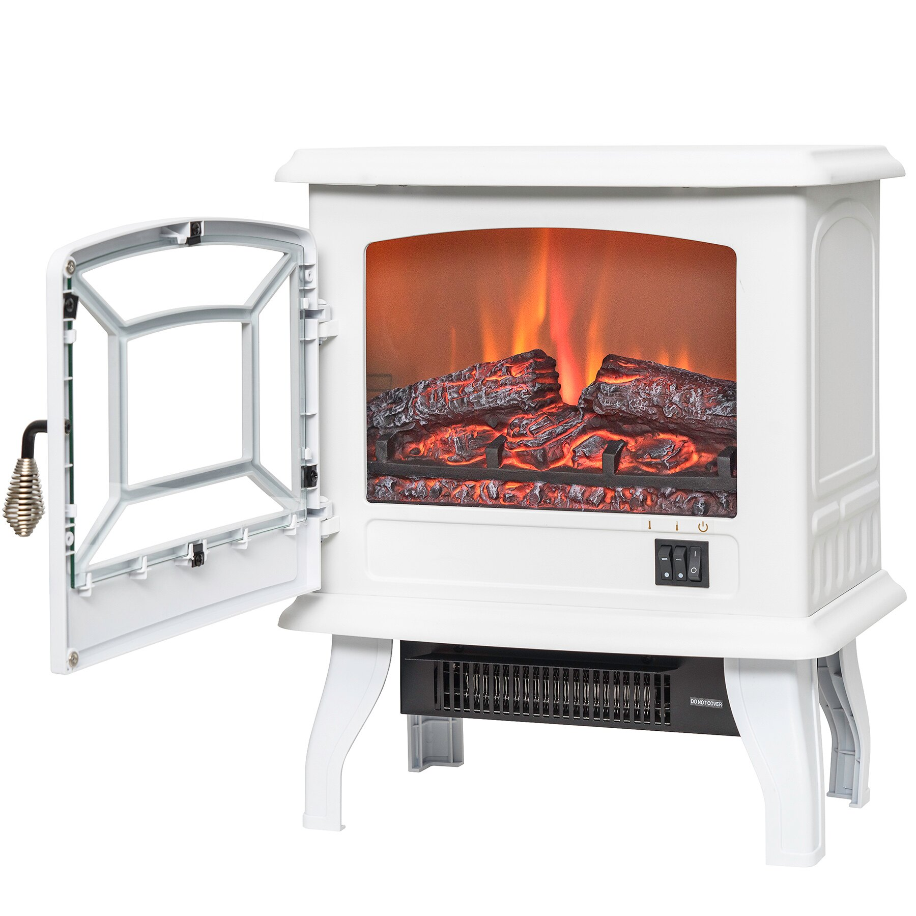 "AKDY 17"" Freestanding Portable 3D Flame Electric Fireplace Heater w/ Log Bed 3"
