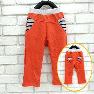 【班比納精品童裝】百搭條紋拼色繡線毛圈棉褲-橘【BB150807013】