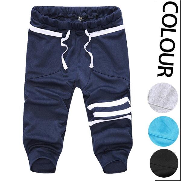 經典流行時尚簡約條紋造型百搭休閒7分褲