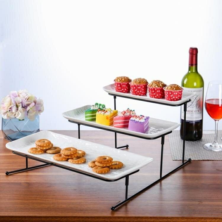 碟子 蛋糕盤多層糕點盤客廳創意糖果托盤架子陶瓷水果盤DF -