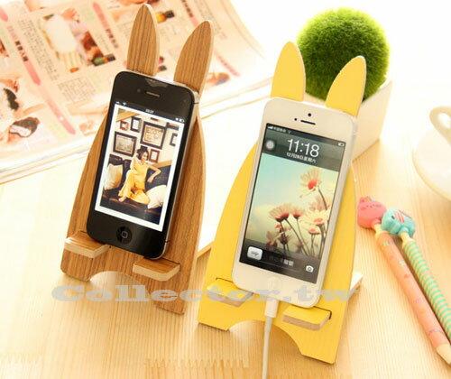 【K14052601】韓版-可愛越獄兔手機支架 木質手機架 時尚創意手機座