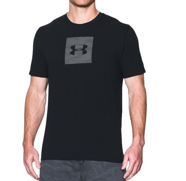 《UA出清69折》Shoestw【1297954-001】UNDERARMOURUA服飾短袖運動上衣能量棉黑色方框灰男生