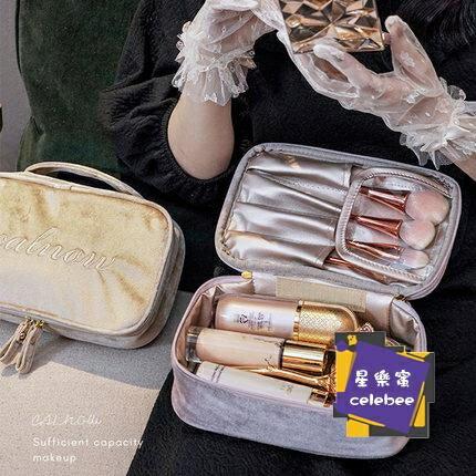 化妝包 化妝袋女便攜絲絨復古小號隨身化妝品收納包網紅大容量手提化妝袋【全館免運 限時鉅惠】