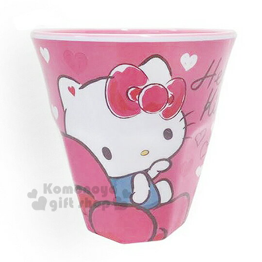 〔小禮堂〕 Hello Kitty 美耐皿杯《桃.坐姿.愛心.蝴蝶結》 容量約270ml
