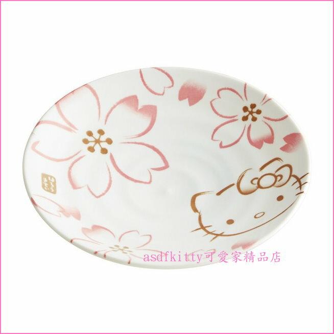 asdfkitty可愛家☆KITTY櫻花陶瓷盤-CAP16-小盤/點心盤/沙拉盤-裝點心.小菜.沙拉...都好用-日本製