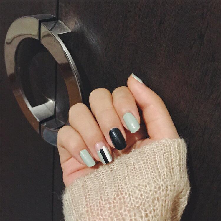 現貨~ JH-101 【14貼美甲貼紙】綠柱 防水環保全貼手指甲孕婦甲油膜貼片