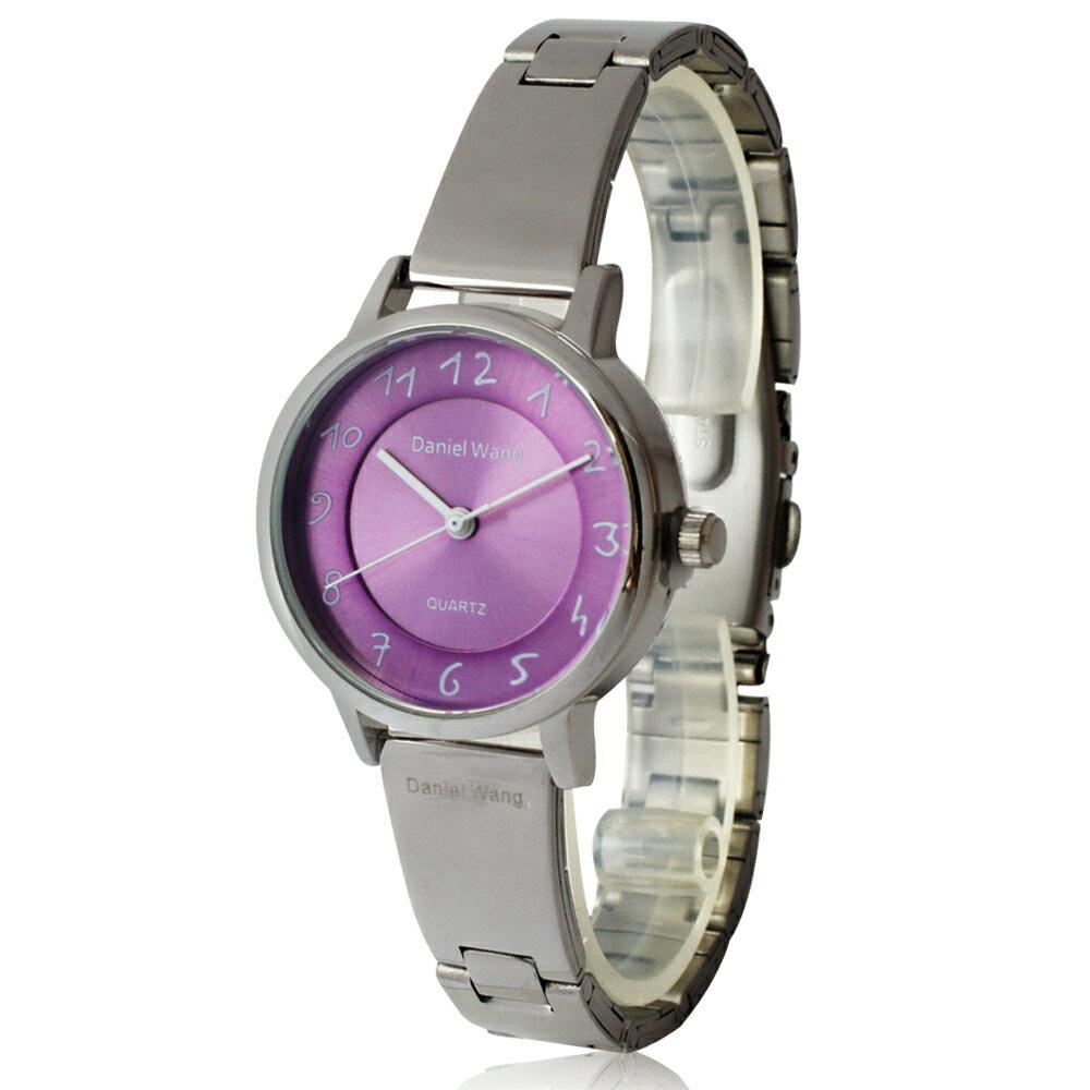 Daniel Wang 3139-S 典雅小巧錶帶銀框手寫數字質感手錶 3