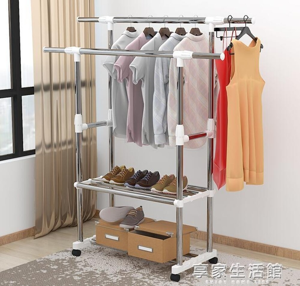 晾衣架落地伸縮不銹鋼移動簡易雙桿式室內涼衣服架子陽台掛曬衣架     全館八五折