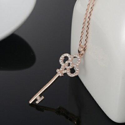 ~玫瑰金項鍊 鑲鑽純銀吊墜~精美鑰匙 精緻情人節生日 女飾品73dw134~ ~~米蘭 ~
