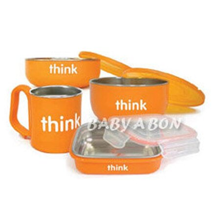 thinkbaby 環保不鏽鋼兒童餐具組-甜橙橘【悅兒園婦幼生活館】