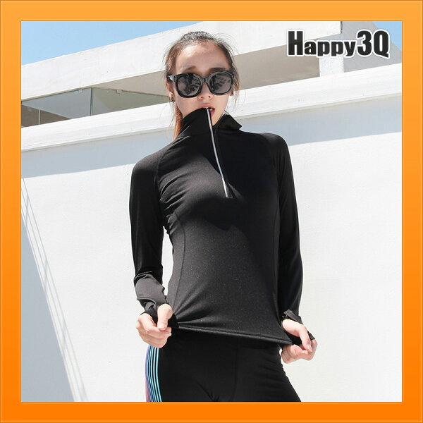 運動長袖T恤速乾吸汗緊身女胸口拉鍊反光夜跑步健身-灰黑粉S-XL【AAA4997】