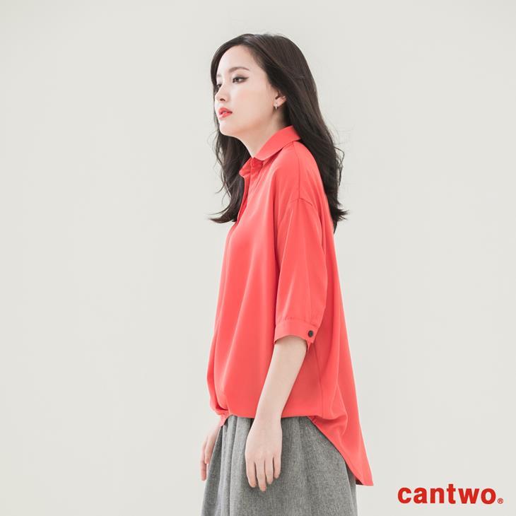 cantwo弧襬五分袖雪紡襯衫(共三色) 1