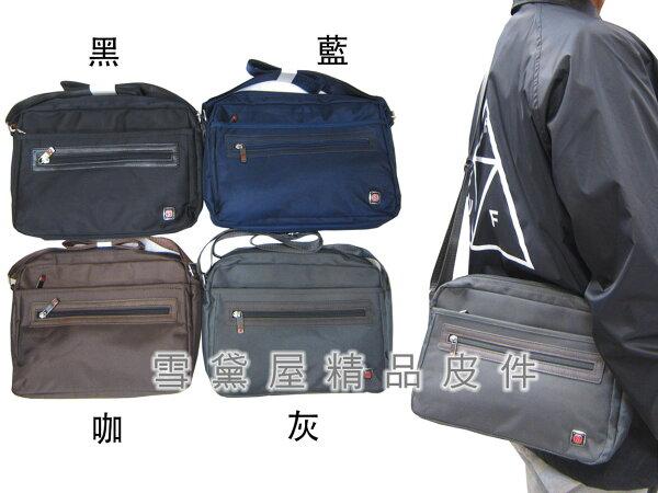 ~雪黛屋~MAKOTO斜側包中容量二層拉鍊主袋8吋平板進口防水尼龍布+皮革材質可肩背斜側背隨身品B360SA12750