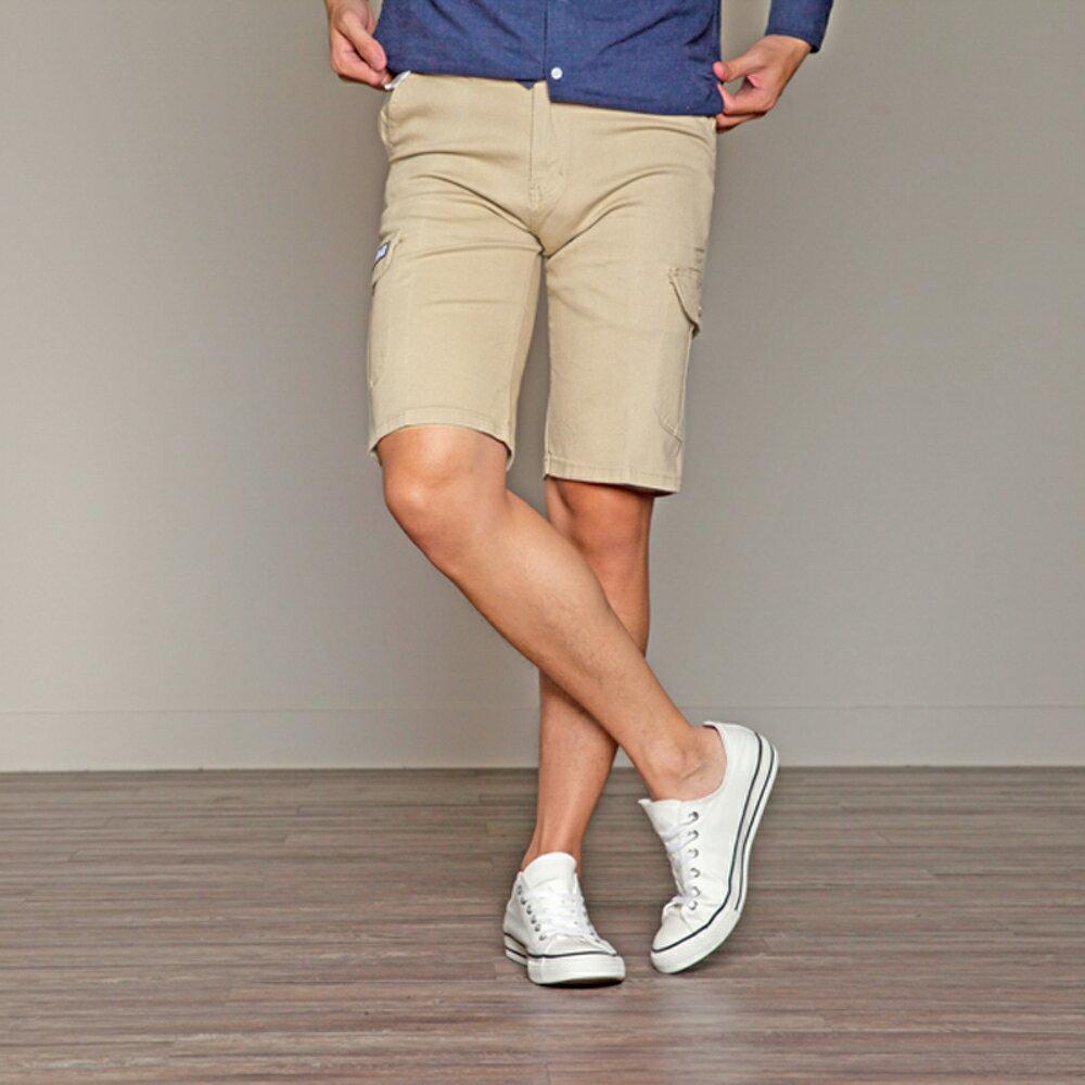 KASO 經典卡其 多口袋彈力休閒短褲( 中大尺碼 休閒 短褲 男性 夏天 Cargo Shorts) 7
