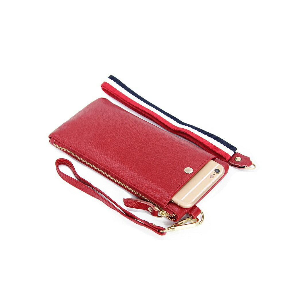 手拿包真皮手機包-簡約薄款純色牛皮女包包5色73wz45【獨家進口】【米蘭精品】 0