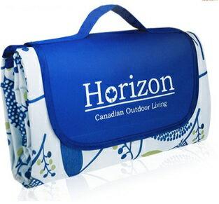 【淘氣寶寶】加拿大 Horizon 多 加大防潮沙灘野餐墊-附防水收納袋 195x200cm-禪風靛