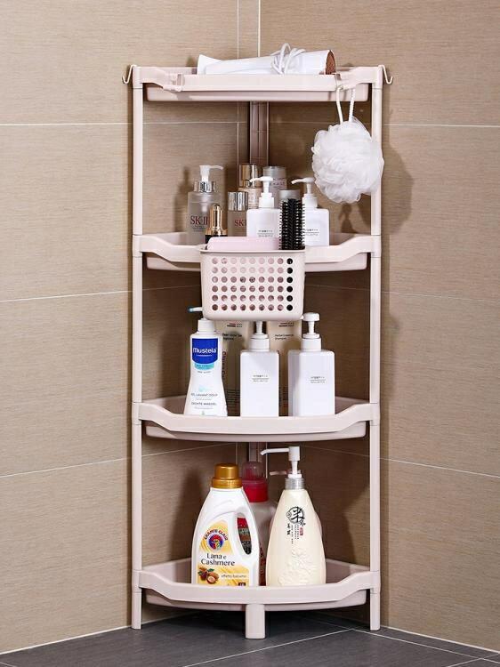 【免運】浴室置物架衛生間轉角免打孔三角形架落地盆架廁所塑料儲物收納架ATF