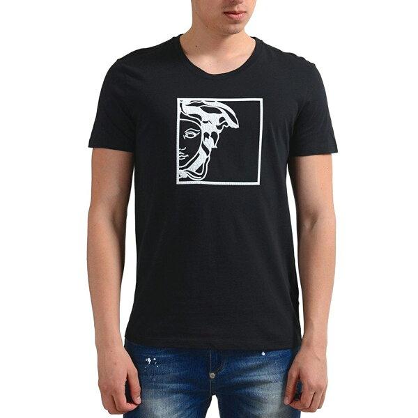 美國百分百【全新真品】Versace凡賽斯圓領短袖T恤logo蛇髮女妖T-shirt黑色J119