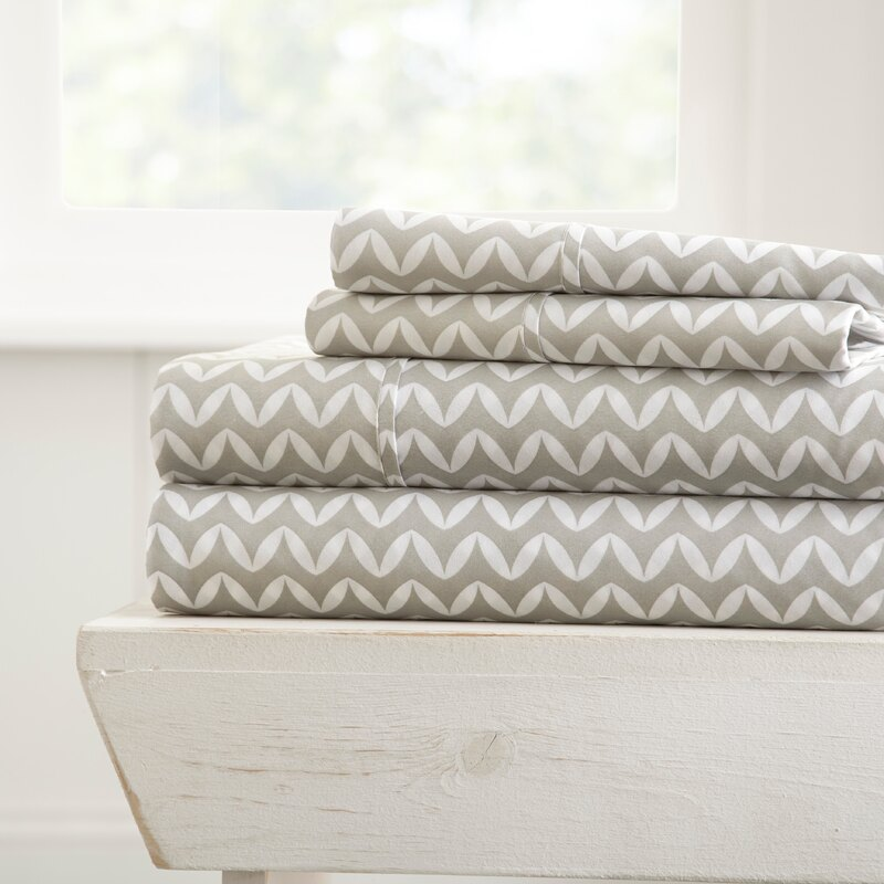 Home Collection Premium Ultra Soft Microfiber Bed Sheet - Puffed Chevron, Gray 0