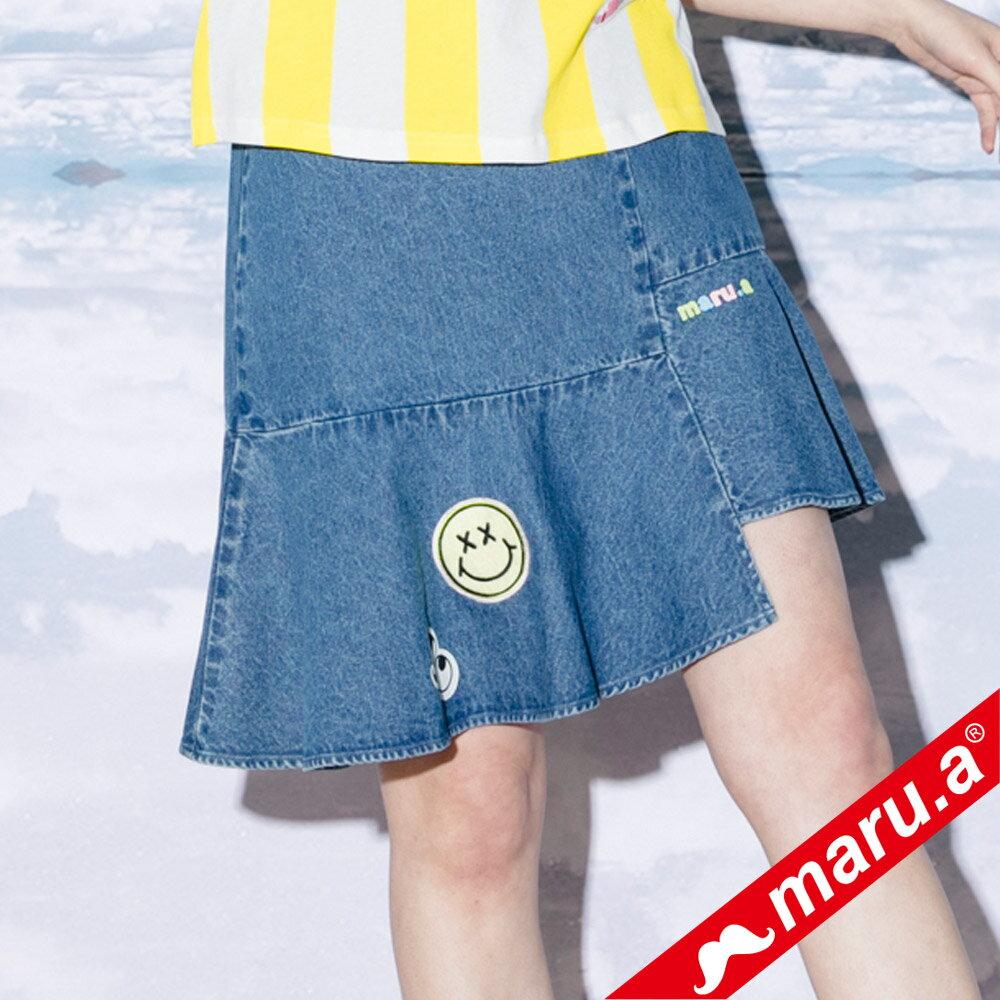 【maru.a】斜邊魚尾貼布繡牛仔裙(2色)8326113 5