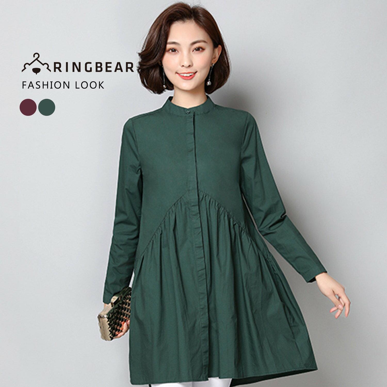 長版襯衫--復古氣質簡約素面貼領顯瘦細褶山形剪接襯衫(紅.綠XL-3L)-I103眼圈熊中大尺碼 1