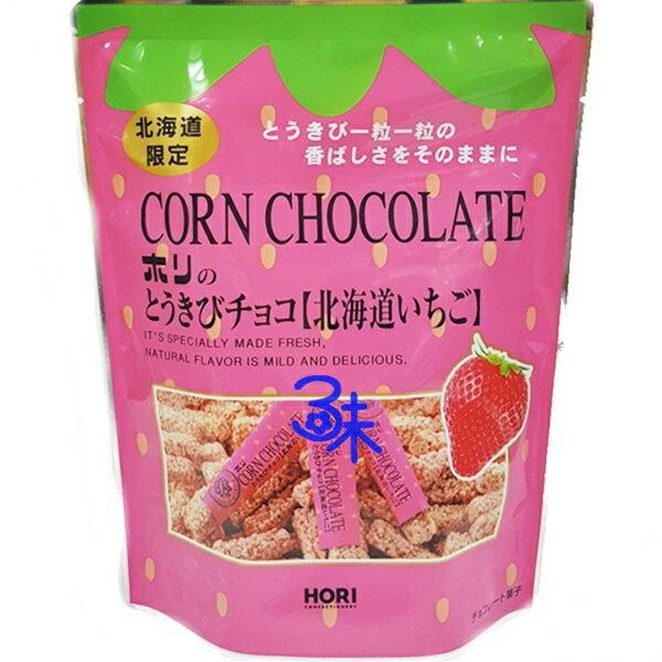 (日本)HORI 北海道玉米巧克力-草莓 1包 120 公克(10入) 特價 165 元【4977240004876】 (日本空運期間限定 草莓巧克力玉米餅乾棒 北海道產草莓巧克力玉米脆餅 )