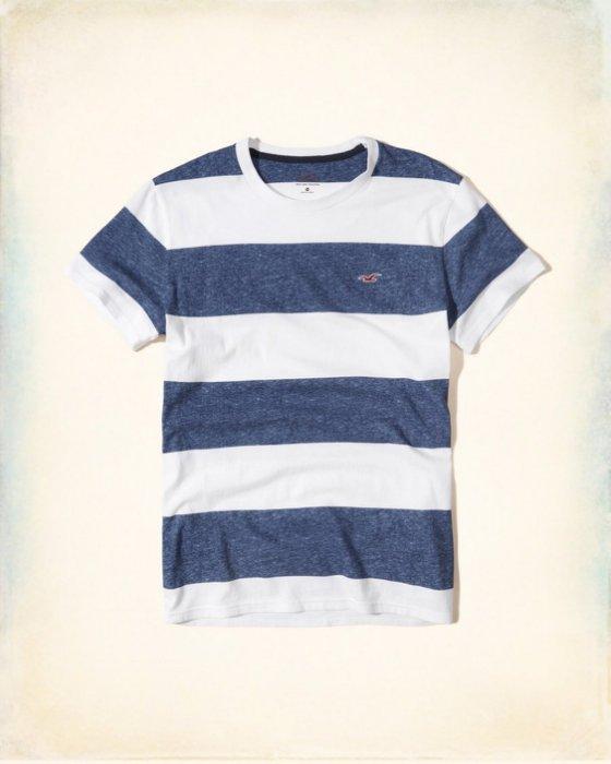 美國百分百【Hollister Co.】T恤 HCO 短袖 T-shirt 海鷗 上衣 條紋 深藍白色 S號 I210
