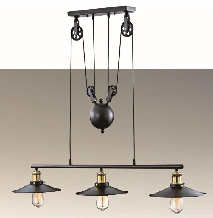 個性工業風/造型滾輪 滑輪 金屬烤漆 吊燈 餐廳燈 餐吊燈 3燈 光源另計 〖永光照明〗SG-60963