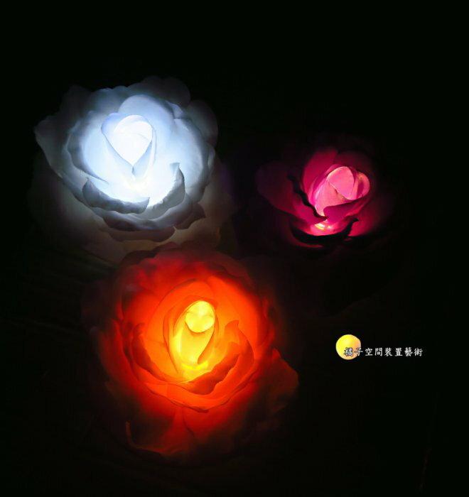 [橘子空間裝置藝術] 3色 附電池 浮水LED燈花. 浮水小花燈 ☆人造花.插花配件.居家.店面.櫥窗.玄關.大廳擺飾☆