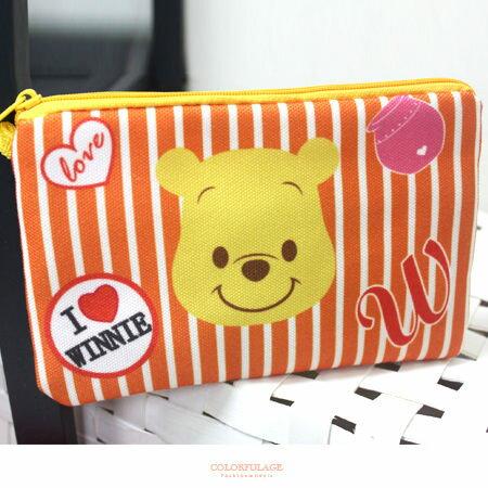 收納包 正版迪士尼Disney系列條紋帆布雙層拉鍊設計 可愛化妝包/筆袋 柒彩年代【NS14】人氣商品