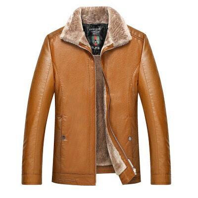 皮衣夾克外套-皮毛一體加厚翻領男夾克3色73pn18【獨家進口】【米蘭精品】 1