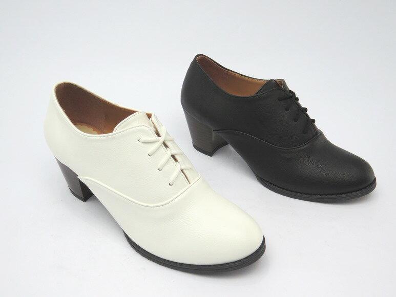 *包鞋* 日系典雅鞋帶粗跟包鞋23-652(白/黑)☆【彩虹屋】☆現+預