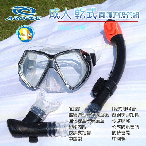 [Aropec]成人乾式浮潛面鏡呼吸管組Otter黑;Snorkeling;潛水;蝴蝶魚戶外