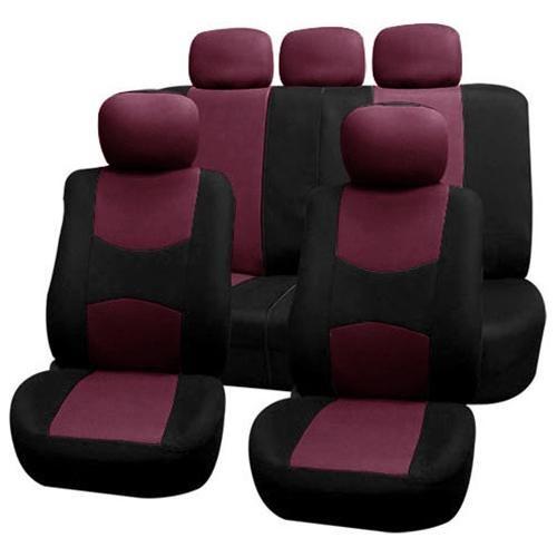 FH-FB050115 Flat Cloth Car Seat Covers Burgundy / Black 0