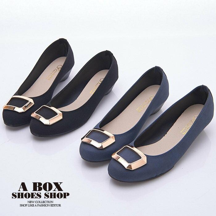 【AW1280】MIT台灣製 簡約時尚絨布材質金屬框設計 3.5CM低粗跟 圓頭包鞋 2色