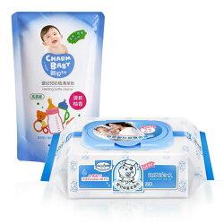 【奇買親子購物網】貝恩Baan NEW嬰兒保養柔濕巾80抽24入/箱+雪芙蘭親貝比 嬰幼兒奶瓶清潔劑補充包600ml